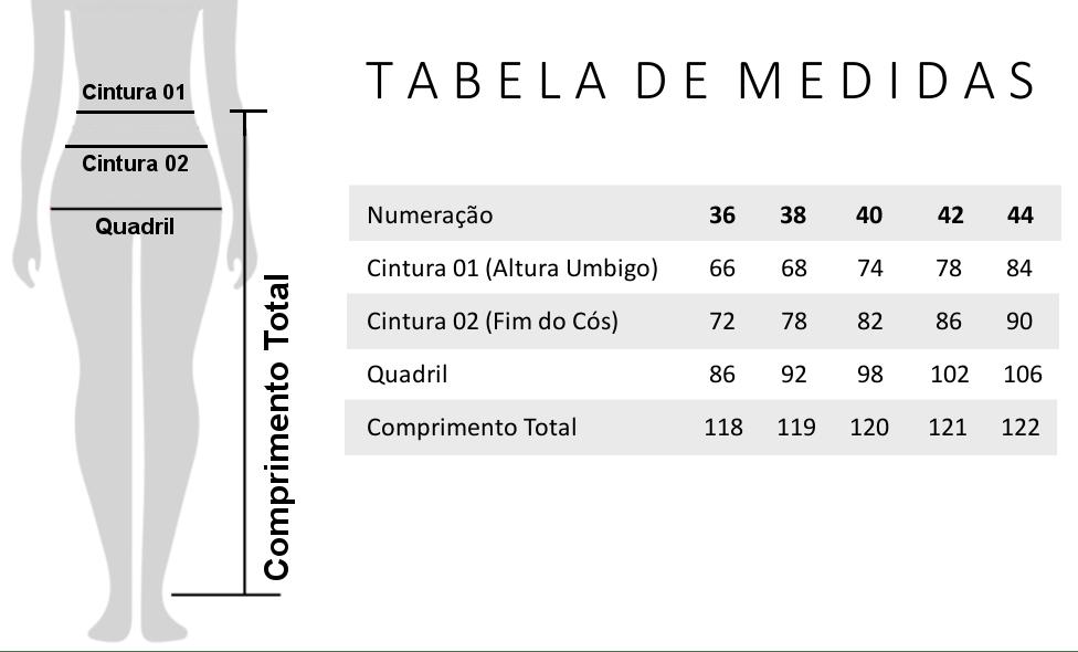 Calça Flare Alfaiataria - Tabela de Medidas