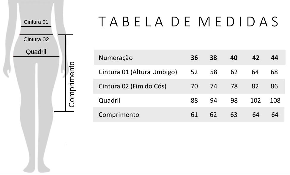 Tabela de Medidas Bermuda Alfaiataria