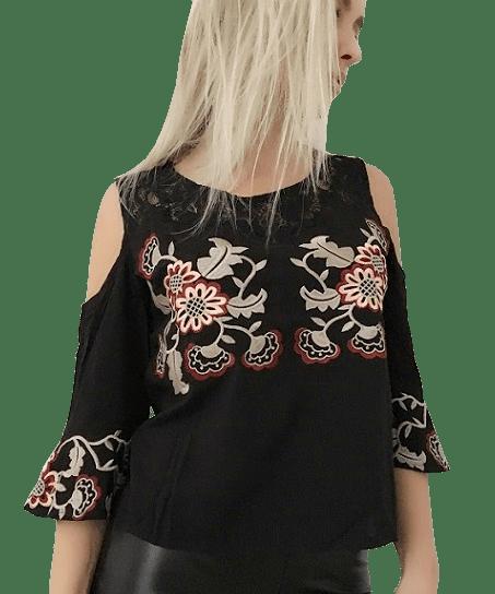 Blusa Ombro Vazado Preta com Bordado