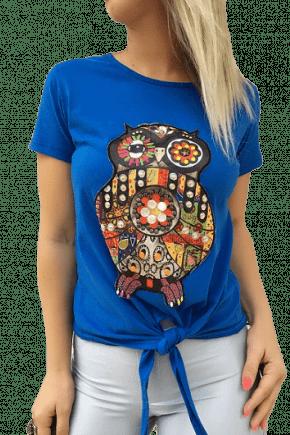 T-Shirt Bordada Azul com Amarração