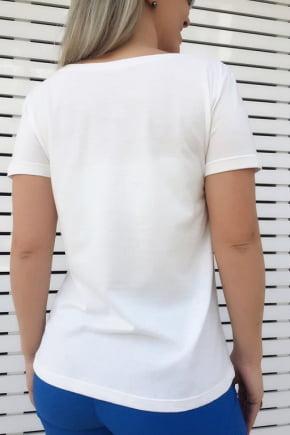 T-Shirt Bordada Branca Bananas