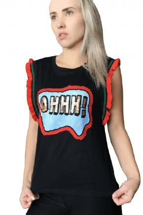 T-Shirt Feminina Bordada Preta Ohhh