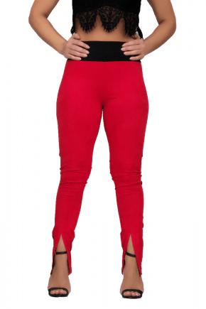 Calça Skinny Feminina Suede Vermelha