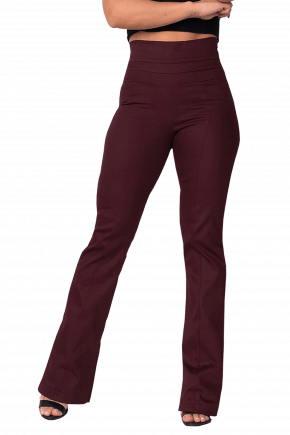 Calça FLARE Cintura Alta BORDÔ