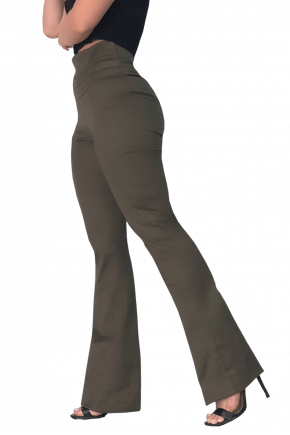 Calça FLARE Cintura Alta VERDE MILITAR