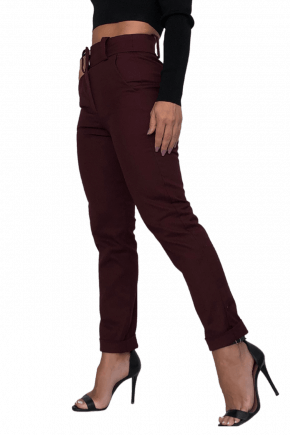 Calça SKINNY Bordô em SARJA