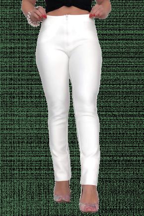 Calça Skinny Neoprene Com Bolso Branca