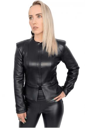 Jaqueta Feminina Preta em Material Sintético