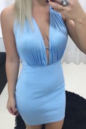 Vestido de Festa Decotado Azul